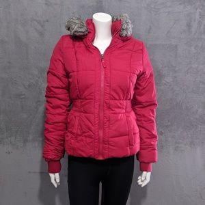 Aeropostale red faux fur lined puffer coat
